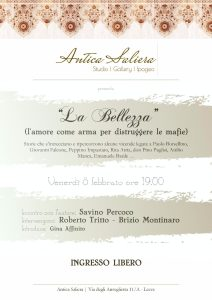 """Incontri: a Lecce """"La Bellezza, un arma per distruggere le mafie"""" @ Antica Saliera"""
