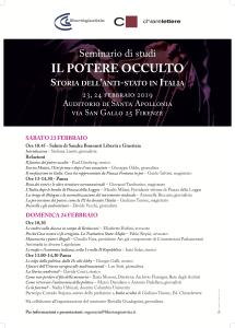 Firenze – Seminario di studi: IL POTERE OCCULTO Storia dell'anti-stato in Italia @ Auditorio di S. Apollonia