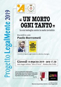 """""""Un morto ogni tanto"""" di Paolo Borrometi – presentazione a Montecchio Emilia (RE) il 14 marzo 2019 @ Aula Magna Istituto Silvio D'Arzo"""
