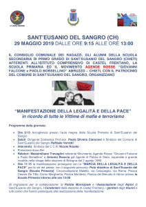 Manifestazione della legalità e della pace a Sant'Eusanio del Sangro (CH) @ Scuola Primaria di Sant'Eusanio del Sangro