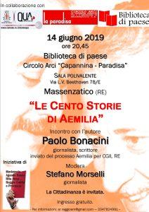 """'Le cento storie di Aemilia' @ Biblioteca di paese - Circolo Arci """"Capannina . Paradisa"""" Sala polivalente."""