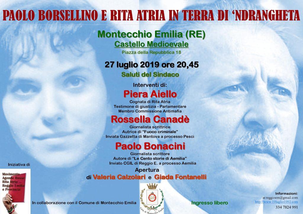 Montecchio Emilia (RE) 27 Luglio 2019: una serata intensa - 19luglio1992.com - 19luglio1992