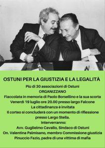 Ostuni: Fiaccolata in memoria di Paolo Borsellino e la sua scorta @ Biblioteca comunale
