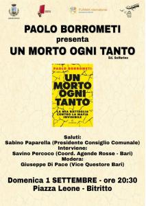 """Bitritto (BA) - Paolo Borrometi presenta il suo libro """"Un morto ogni tanto"""" @ Castello di Bitritto"""