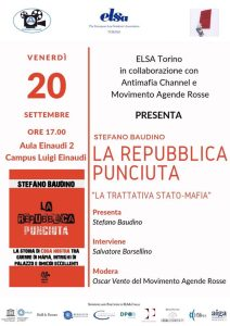 """Presentazione del libro """"La Repubblica Punciuta"""" - Torino 20-9-2019 @ Aula Einaudi 2 del Campus Luigi Einaudi"""