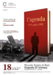 Bari: Opera teatrale sulla storia dell'agenda rossa @ Piccolo teatro di Bari - Eugenio D'Attoma