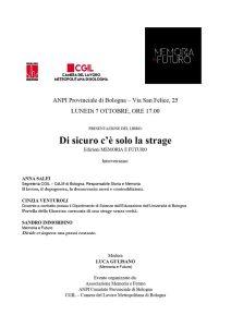 Presentazione del libro 'Di sicuro c'è solo la strage' @ ANPI provinciale Bologna