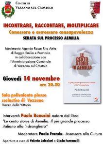 Incontrare, raccontare, moltiplicare: serata sul processo Aemilia a Vezzano sul Crostolo (RE) @ Vezzano sul Crostolo (RE)