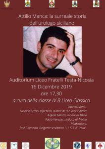 """Nicosia (EN) - Attilio Manca: la surreale storia dell'urologo siciliano @ Auditorium del Liceo """"F. Testa"""""""