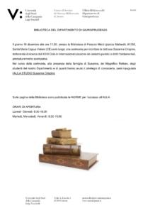 Intitolazione a Susanna Crispino dell'Aula Studio a Santa Maria Capua Vetere @ Biblioteca di Palazzo Melzi