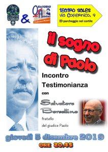 Il sogno di Paolo: incontro con Salvatore Borsellino (MI) @ Teatro Sales