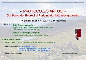 Il protocollo Antoci: dal Parco dei Nebrodi al Parlamento, lotta alle agromafie. @ Conferenza online.